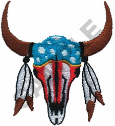 PAINTED SKULL AND FEATHERS embroidery design