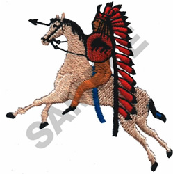 INDIAN WARRIOR & HORSE embroidery design