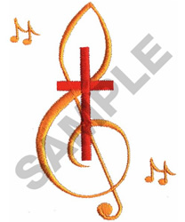CROSS WITH TREBLE CLEF embroidery design