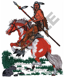 INDIAN WARRIOR and HORSE embroidery design
