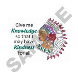 Knowledge Is Kindness embroidery design