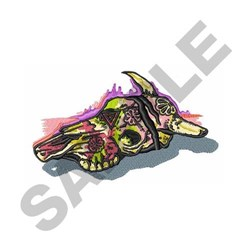 Painted Cow Skull embroidery design