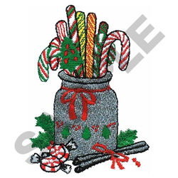 CANDY CANE JAR embroidery design