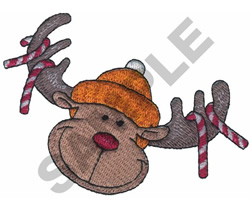MOOSE WITH CANDY CANES embroidery design