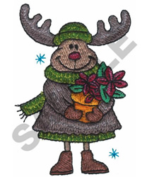 MOOSE WITH FLOWER POT embroidery design