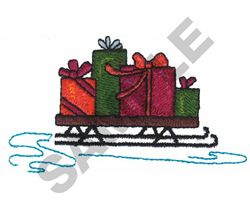 PRESENTS ON SLED embroidery design