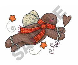 GINGERBREAD MAN FLYING embroidery design