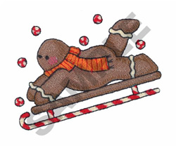 GINGERBREAD MAN SLEDDING embroidery design