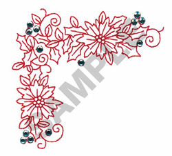 FLORAL HOLIDAY BORDER CRYSTALS embroidery design