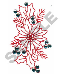 POINSETTIA CRYSTALS embroidery design