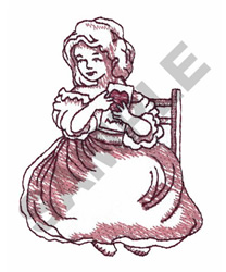 GIRL WITH VALENTINE embroidery design