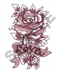 ROSE WITH BANNER LOVE embroidery design