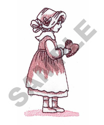 GIRL WITH VALENTINE HEART embroidery design