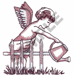 ANGEL WATERING GRASS embroidery design