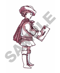 BOY WITH LETTER embroidery design