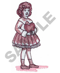 GIRL WITH HEART embroidery design