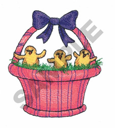BABY CHICKS IN BASKET embroidery design