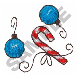 CANDY CANE AND ORNAMENTS embroidery design