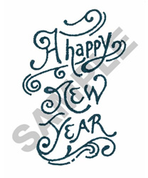 A HAPPY NEW YEAR embroidery design