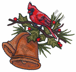 CARDINAL ON BELLS embroidery design