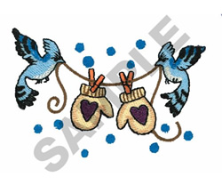 BIRDS WITH MITTENS embroidery design
