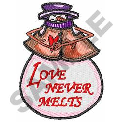 LOVE NEVER MELTS embroidery design