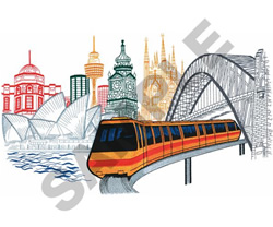 SYDNEY MONORAIL embroidery design