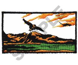 EAGLE W/ SCENERY embroidery design