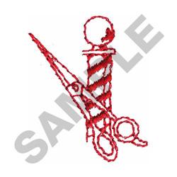 BARBER POLE & SCISSORS embroidery design
