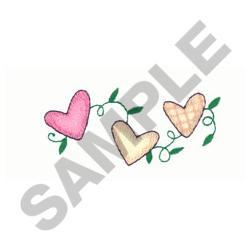 HEARTS ON VINE embroidery design
