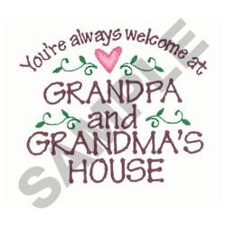 WELCOME AT GRANDMAS embroidery design