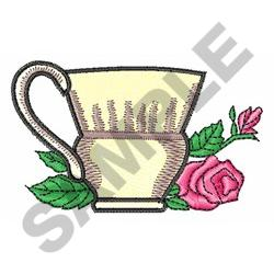 COFFEE CUP AND ROSE embroidery design
