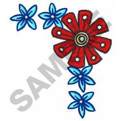 FLORAL CORNER BORDER embroidery design
