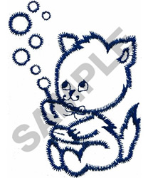 KITTEN WITH BUBBLES embroidery design
