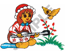 GIRL PLAYING GUITAR embroidery design