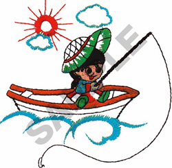 GIRL FISHING FROM CANOE embroidery design