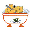HIPPO IN TUB embroidery design