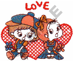 LOVE CHILDREN AND HEART embroidery design
