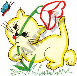 KITTY & BUTTERFLY APPLIQUE embroidery design