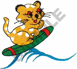 SURFING CAT embroidery design