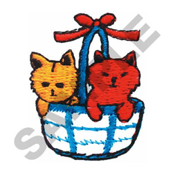 KITTYS IN A BASKET embroidery design