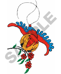 BIRD W/FLOWERS embroidery design