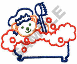 TEDDY IN THE TUB embroidery design