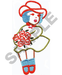 GIRL HOLDING ROSES embroidery design