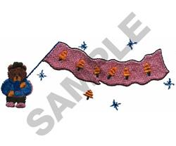 TEDDY BEAR WITH FLAG embroidery design