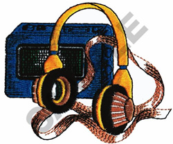 HEADPHONES AND PLAYER embroidery design