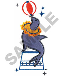 CIRCUS SEAL WITH BALL embroidery design
