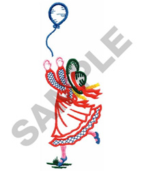 GIRL AND BALLOON embroidery design