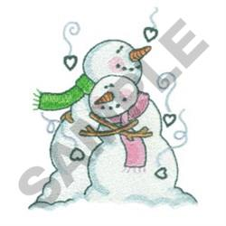 SNOWPEOPLE HUGGING embroidery design