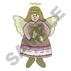 ANGEL HOLDING STAR embroidery design
